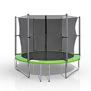 gympatec XL Trampolin Gartentrampolin Komplettset Netz innenliegend Leiter Erdanker Spanngurte 3,05m