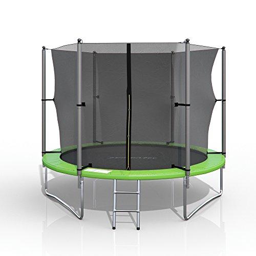 XXL Trampolin 305 cm Gartentrampolin Komplettset mit Netz innenliegend Leiter Erdanker Spanngurte Abdeckung