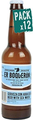 Pack 12 Cerveza artesanal premium Er Boquerón elaborada con agua de mar, botella de 33 cl, sabor suave e inconfundible