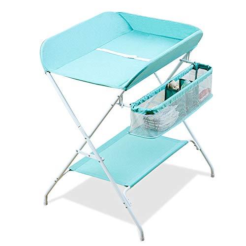 Tables à langer Table à langer portable bébé unité de rangement fille garçon bébé, organisateur de pépinière à couches croisées pliables style pour bébé, bleu