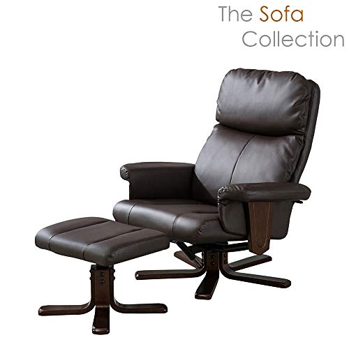 Sofa-Collection Cadiz Bonded Leather Swivel Chair with Heat & Massage for Living Room Office Bedroom (Brown)