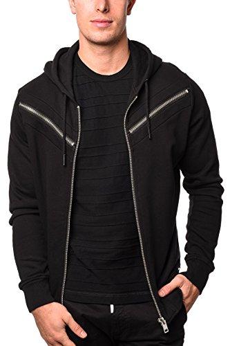 Diesel Herren Zip-Hoodie S-Flyer schwarz weiche Jersey-Baumwolle (Diesel-baumwoll-jersey)