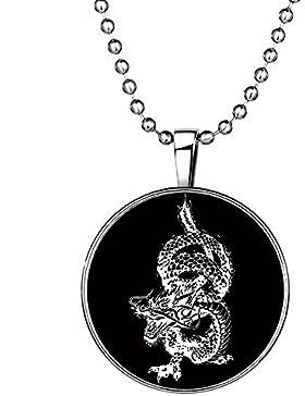 Feilok Gotik Herrschsüchtigem Tanzend Drache Anhänger Leuchtend Anhänger Halskette für Kinder , Blaue Leuchtende...