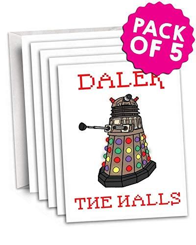 Funky NE Ltd Dalek The Halls - Doctor Who - Dalek - witzige Weihnachtskarte, tolle Geschenkidee - erhältlich als Einzelkarte oder als 5er-Packung, 5 Stück