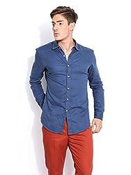 Mr Button The Cute Adele Cotton Shirts For Men, Long Sleeve, , 100% Premium Mercerised Cotton Fabric, Latest Modern Fashion, Branded Stylish (True Blue)
