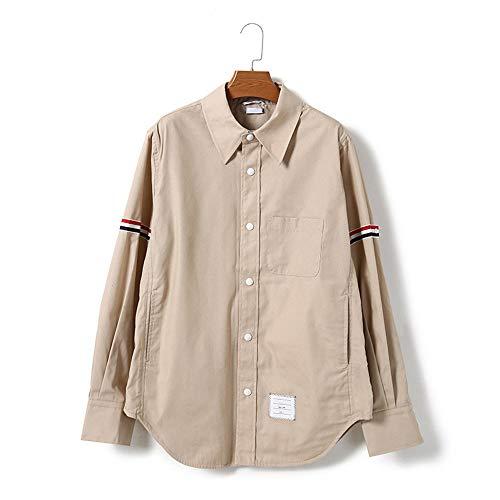 DISCOUNTL Shirt Damen Herren Doppelarm Band Damen T-Shirt Shirt Shirt gestreift Langarm Slim Shirt (Artikel enthält nur Shirt) Gr. Small, Khaki
