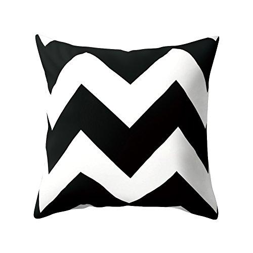 Infashionport quadrato bianco e nero geometrico pelle di pesca gettare copertura del cuscino della cassa, 4#, taglia unica