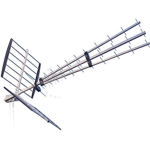 47 Elemente YAGI DVB-T2 Antenne (UHF) 11-17 dB(i) LTE-frei mit F-Buchse, Tube-Reflektor u. Triple-Elementeträger, für horizontale o. vertikale Montage (3H-UHF-47L) optional nachrüstbar bis zu 35 dB(i) -
