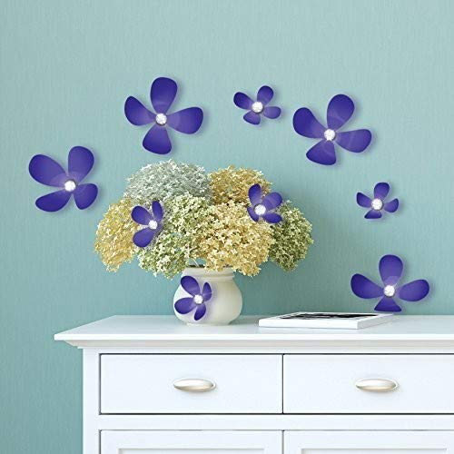 WALPLUS Kristall 3D Iris Blumen, Vinyl, Mehrfarbig, 33,5x 11,5x 3cm -