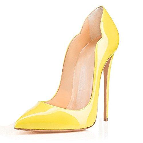 EDEFS Scarpe Col Tacco Donna Classico Ritaglio High Heels Chiuse Davanti Scarpa Giallo