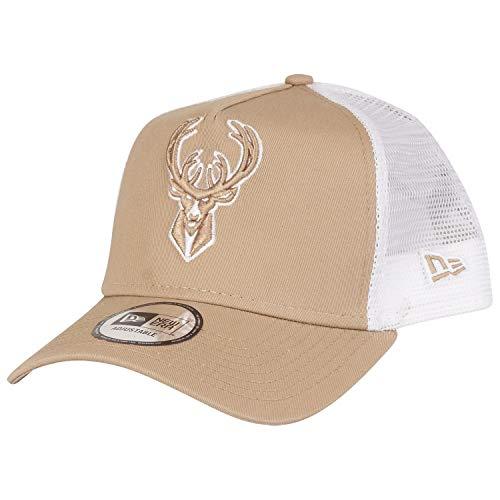 New Era NBA Essential Trucker Cap Milwaukee Bucks Beige, Size:ONE Size Buck Cap
