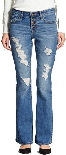 Masks Brand Mossimo Damen Flip Flop Flare Destructed Jeans - Blau - 25W x 0L -