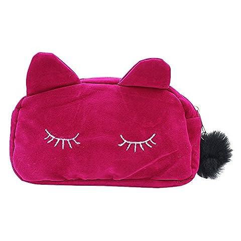 Pinzhi Sac de Maquillage Trousse Cosmétique en Tissu Flanelle Boîtier de Stylo Chat Cartoon Mignon, Rouge