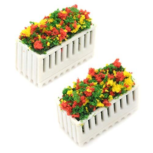 7thLake 2 Stücke Blumenbeete Pflanzen Miniatur Landschaft Fee Garten Decor Puppenhaus Zubehör (Puppenhaus Miniatur-pflanzen)