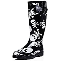 SPY LOVE BUY Pirate Flat Skull and Bone Festival Wellies Knee High Rain Boots