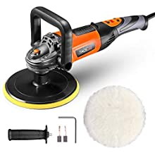 TACKLIFE Polisher and Sander,6 Variable Speeds Polishing Machine with 180MM Polishing Pad Detachable,D-Handle,Wool disc,Orbital Sander with 2 Carbon Brush for Buffing Car,Wood,Metal,Plastic,Tiles