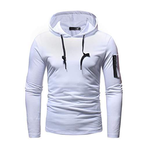 GreatestPAK Sweatshirt Herren Herbst Winter Langarm Reißverschluss  Patchwork Tops mit Kapuze Outwear, Weiß, M fab8ec2cd2