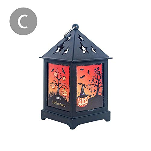 tidystore LED Lampe Schloss Kürbis Friedhof Spooky Halloween Dekoratives Licht Retro Bunte LED Nachtlicht Laterne