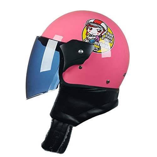 OUTO Casco Modello Cartoon Casco Mezzo Esterno da Equitazione Protezione con Cerniera Sciarpa a Collo HD Nero Specchio antiappannamento (Color : Pink Monkey)