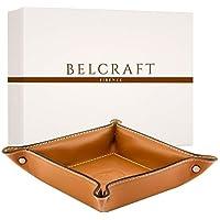 Orvieto Taschenleerer Leder, Handgearbeitet in klassischem italienischem Stil, Ordentlich Tablett, Geschenkschachtel inklusive Hellbraun Braun Clair (19x19 cm)