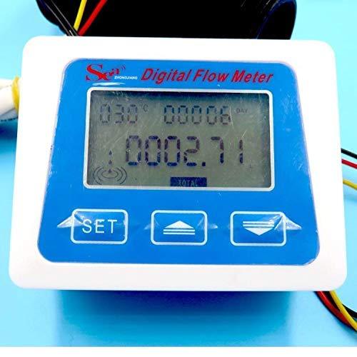 Digitaler Durchflussmesser - LCD-Display Digitaler Temperaturmesser Durchflussmesser Gesamtliter -