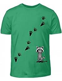 Shirtee Hochwertiges Kinder T-Shirt - Mr Racoon mit Seinen Spuren - der  Freche Waschbär auf Deinem Shirt für Alle… 5d666ecc76