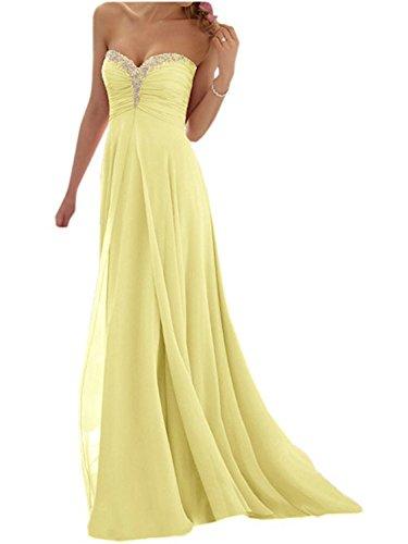 Jaeden abito da ballo lungo abito da sera abito da damigella d'onore senza spalline chiffon giallo eur34