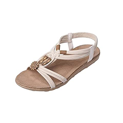 YOUJIA Damen Strand Sandale Casual Peep-Toe Flache Sandalen Schuhe Sommer