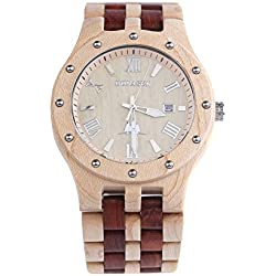 BS® Fashion Handmade Wooden Watch Water Resistance Wood bracelet Watch Made With Natural Red Sandalwood and Maple BNS-250C