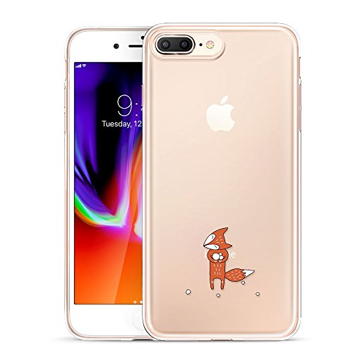 ESR iPhone 8 Plus Hülle, iPhone 7 Plus Hülle, Transparent [Weich Silikon][Ultra Dünn] mit Tiere Motiv Schutzhülle für Apple iPhone 8/7 Plus 5.5 Zoll 2017 Freigegeben. (Fuchs) (Volle Ersatz-stoßstangen)
