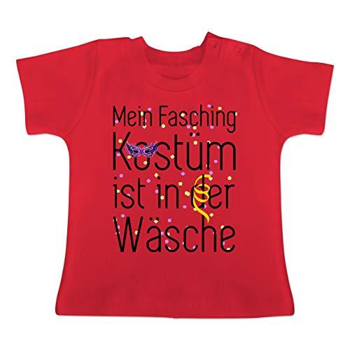 g Baby - Mein Fasching Kostüm ist in der Wäsche - 1-3 Monate - Rot - BZ02 - Baby T-Shirt Kurzarm ()
