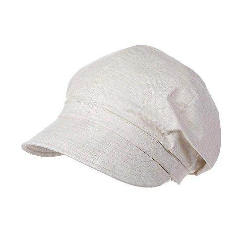 Damen Mütze (SIGGI beige Ballonmütze Schirmmütze Barett Maler Mütze Damen mit Visor)