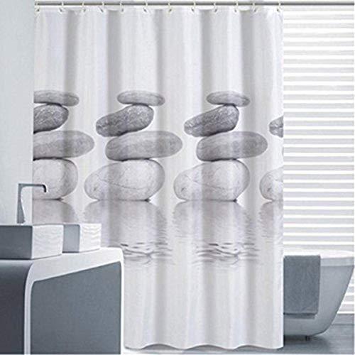 Goldbeing Duschvorhang 240x200 Textil Grau Pebble Schimmelresistenter und Wasserabweisend Shower Curtain mit 16 Duschvorhangringen (In Grau Duschvorhang)