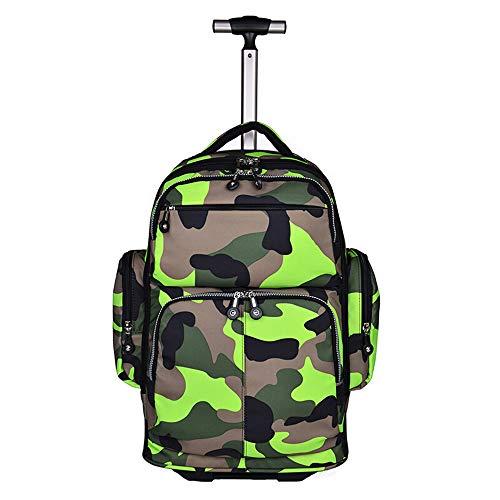 WVUSGD Trolley Schoolbag Einpolige Bookbags Student Hand-Pull Reiserucksack Computertaschen-green