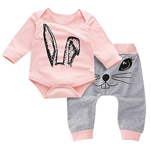 HCFKJ Ropa Bebe NiñA Invierno NiñO Manga Larga Camisetas Beb Conjuntos Moda Infantil Dibujos Animados Conejo Tapas ImpresióN Mamelucos Pantalones Ropa Conjuntos (0-6 Meses, Rosa)
