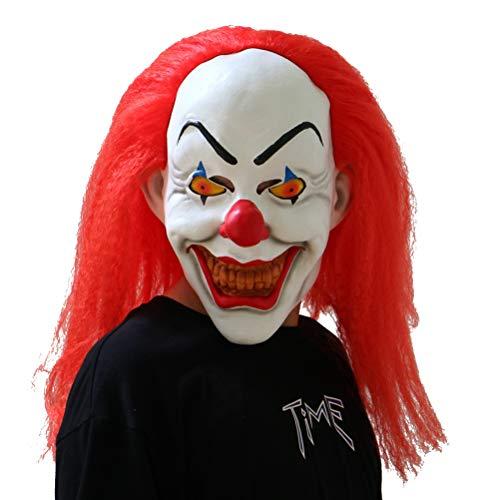 BESTOYARD Halloween Maske Clown Cosplay Kostüm mit Rote Haare für Erwachsene