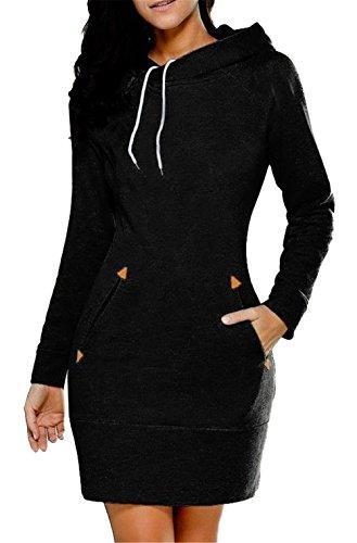 YPtong Abiti Felpe Donna Invernali Ragazza Moda Abito Felpe Femminili Maniche Lunghe Eleganti Vestito Sweatshirt con Cappuccio Casual Vestiti Jumper Pullover Maglia Top Slim Fit Nero