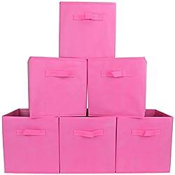 EZOWare Boîte de Rangement Pliable en Textile Non-Tissé, Panier de Rangement, Organiseur de Placard pour Bureau, Chambre d'Enfant, Maison - Lot de 6, Rose