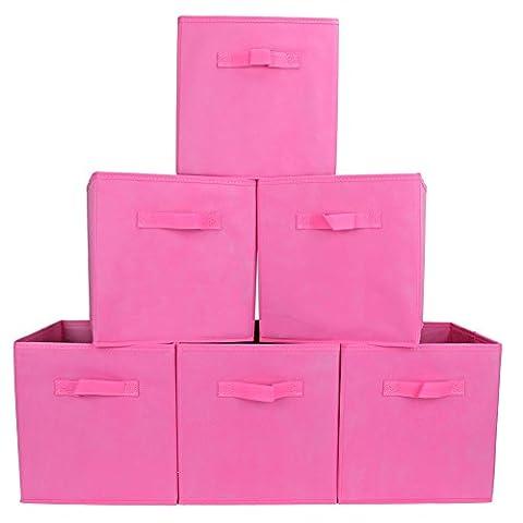 EZOware Boîtes de Rangement Ouvertes en Textile Non-Tissé, Tiroir en Tissu, Pack de 6, pour (Cesti Bambino Di Vimini)