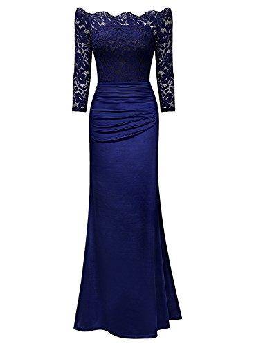Miusol Damen Elegant Cocktailkleid Spitzen Vintage Kleid Off Schulter Brautjungfer Langes Abendkleid Dunkelblau Gr.S - 3