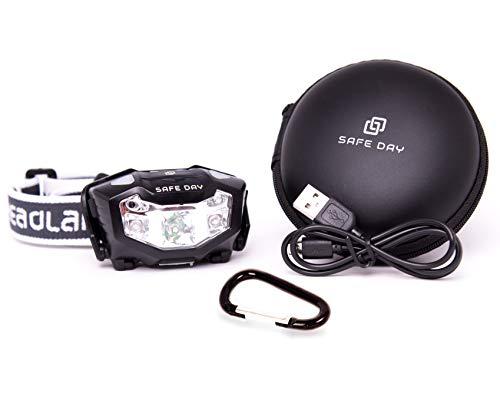 SAFE DAY Stirnlampe LED Premium Kopflampe USB Wiederaufladbar- Lichtsensor, Wasserdicht zum Joggen, Camping, Handwerk und mehr - inklusive USB Kabel und Aufbewahrungsetui