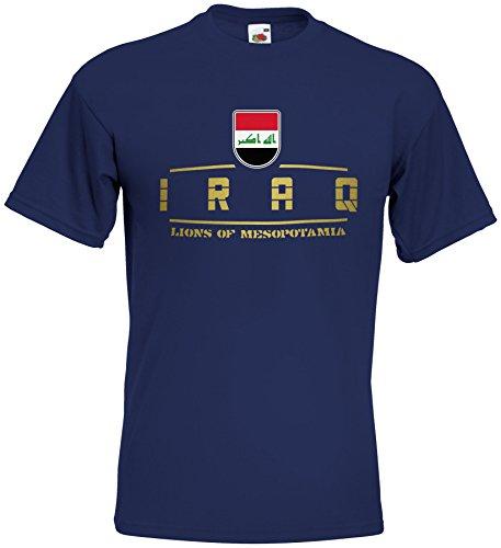 AkyTEX Irak Iraq Fanshirt T-Shirt WM2018 Navyblau M