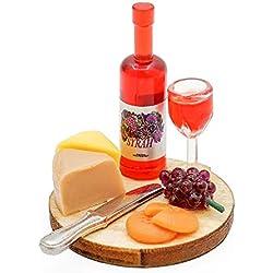 Odoria 1/12 Miniature Fromage et Craquelins - Plateau de Service pour Le vin Cuisine de Maison de Poupées