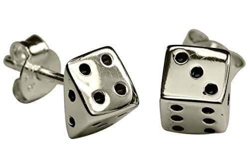 SILBERMOOS Pendientes de botón para mujer en forma de dados brillantes pendientes Plata esterlina 925