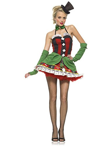 Poker Damen Glück Kostüm rot schwarz grün ()