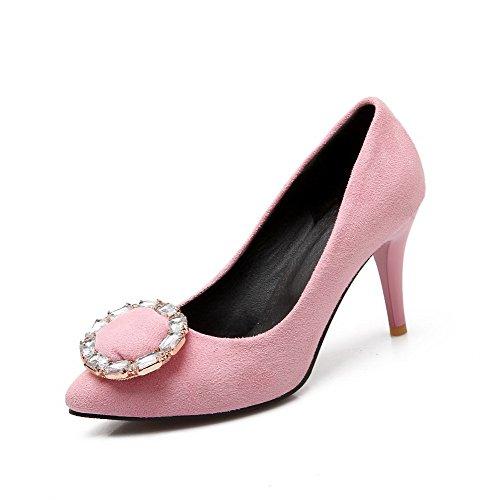 AgooLar Damen Ziehen Auf Spitz Zehe Hoher Absatz Mattglasbirne Rein Pumps Schuhe Pink