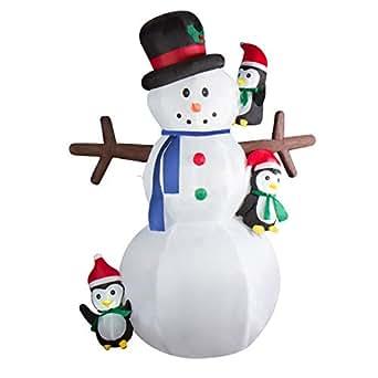 CCLIFE Pupazzo di neve gonfiabile grande, Con Illuminazione a LED e Kit Fissaggio, Addobbo e Decorazione Natalizia, Colore:Bianco006-240cm