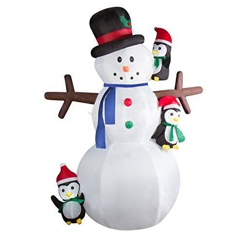 CCLIFE Led Schneemann Beleuchtet Aufblasbar Schneemänner 180/240 CM, Farbe:Weiß006-240cm -