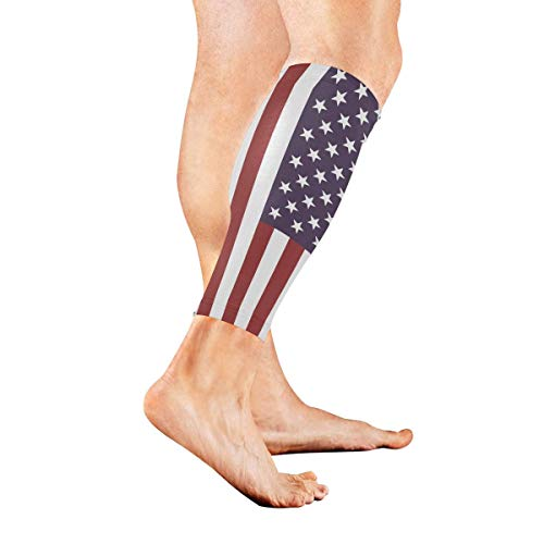 Zcfhike America Flag Sports Calf Compression Sleeve Strong Calf Support for Runners(1 Pair) -