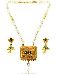 Aashya Mayro Rajwadi Kundan And Pearl, Copper Jewellery Gold Plating Big Square Pendant Necklace And Jumki Earring...